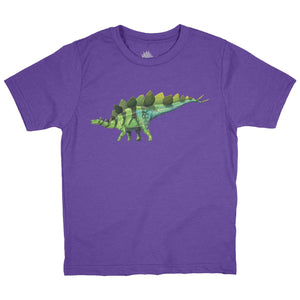 Stegosaurus Fossil Fusion Youth Dinosaur T-Shirt Bright Purple - Permia