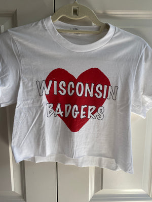 Load image into Gallery viewer, Wisconsin Big Heart Crop Tee