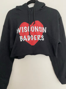 Wisconsin Big Heart Crop Hoodie