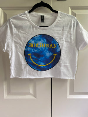 Michigan Tie Dye Smiley Crop Tee