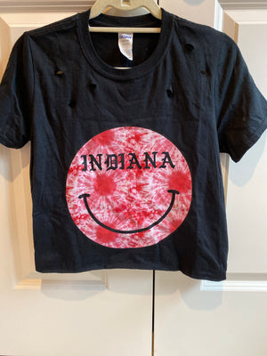 Indiana Distressed Tie Dye Smiley Tee
