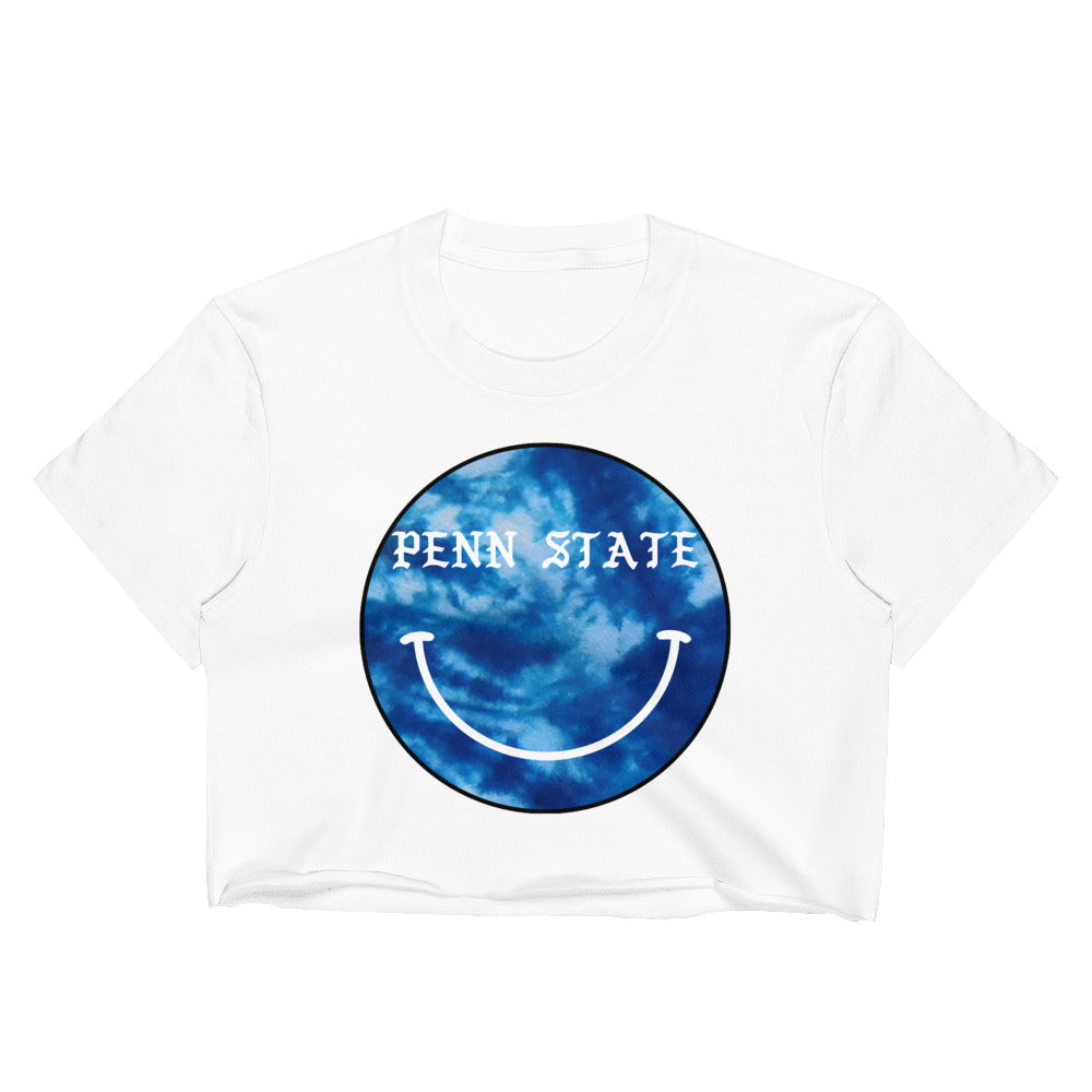 *Any College* Tie Dye Smiley Crop Tee