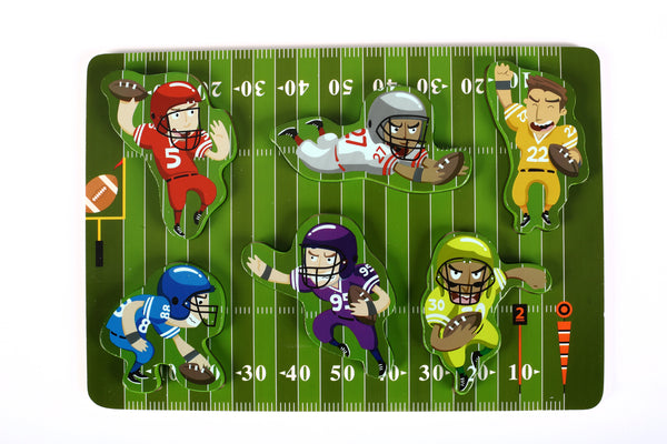 "Fun & Unique Football Sport Chunky Wooden Puzzle w/ ""Easy-Hold"" Colorful Solid Wood Pieces."