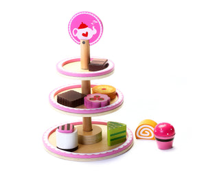 Cute Wooden Afternoon Play Food Dessert Stand w/ Pastries to Cut and Serve - Made w/ SGS Certified Sustainably Sourced Juniper Wood