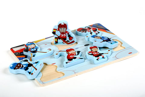 "Fun & Unique Hockey Sport Chunky Wooden Puzzle w/ ""Easy-Hold"" Colorful Solid Wood Pieces."