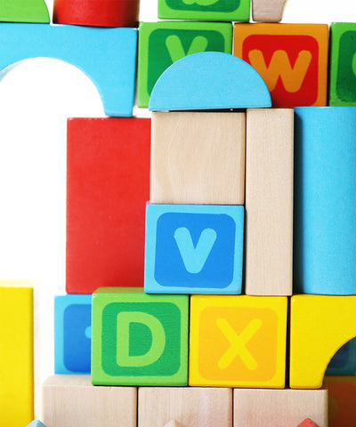 Alphabet Wooden Building Blocks Set | Brightly Colored 80 pc Block Set | Made from Durable Beech & Juniper Wood