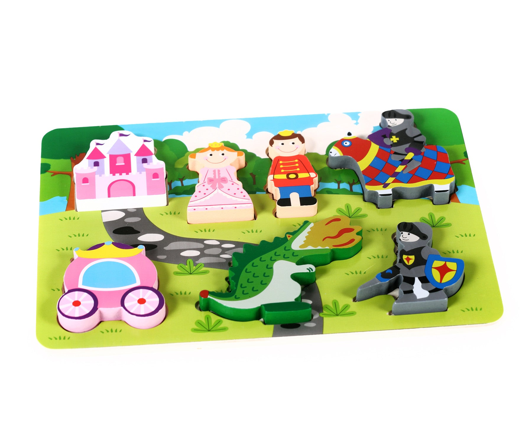 "Fun Princess Castle Chunky Wooden Puzzle with ""Easy-Hold"" Colorful Solid Wood Pieces"