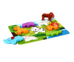 Cute Wild Animals Chunky Wooden Puzzle w/