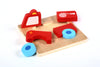 "Image of Vehicle Mini Chunky Wooden Puzzle Bundle Pack (Set of 4) w/ ""Easy-Hold"" Colorful Solid Wood Pieces. Fire Truck, Police Car, Boat & Helicopter Included"