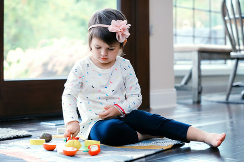 Wooden Fruit Cutting Play Food For Toddlers Set Toy with Wood knife & Cutting Board