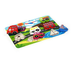 Vehicle & Travel Chunky Wooden Puzzle for Toddlers with