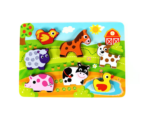 "Fun Barnyard Farm Animals Chunky Wooden Puzzle with ""Easy-Hold"" Colorful Solid Wood Pieces"