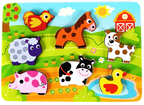 Wooden Chunky Puzzle Pack of 3 Animal Puzzles for Toddlers, Preschool Age | Bundle Includes Wild Safari, Barnyard, Pet Animal Puzzles | Buy the Bundle & Save!