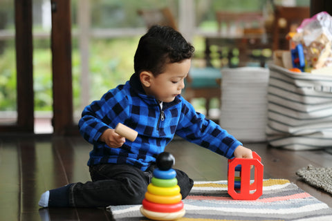 Adorable Wooden Penguin 6 Piece Ring Stacker Toy w/ Solid Wood Rainbow Rings