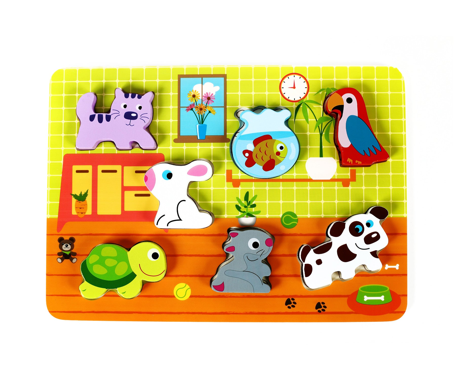 "Cute Pets Baby Animal Chunky Wooden Puzzle w/ ""Easy-Hold"" Colorful Solid Wood Pieces"