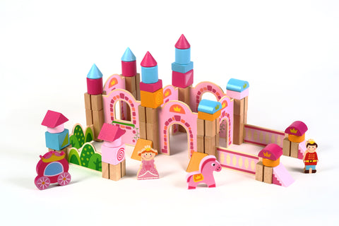 New & Unique Princess Pink Castle Wooden Building Block Set - Hardwood Plain & Colored Small Wood Blocks