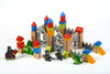 Image of New & Unique Knight & Dragon Castle Wooden Building Block Set - Hardwood Plain & Colored Small Wood Blocks