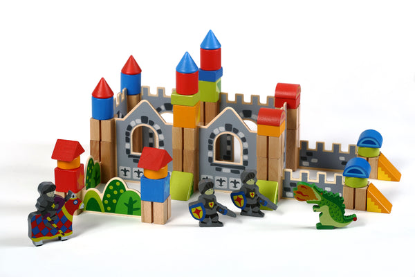 New & Unique Knight & Dragon Castle Wooden Building Block Set - Hardwood Plain & Colored Small Wood Blocks