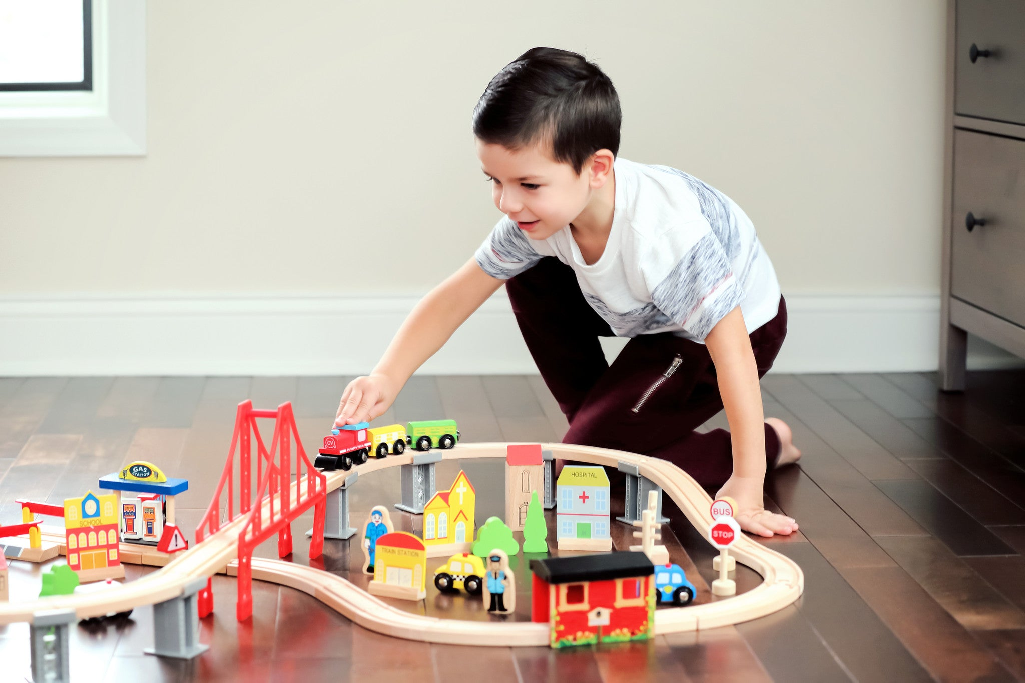 Classic Wooden 70 Piece Train Set toys for Children