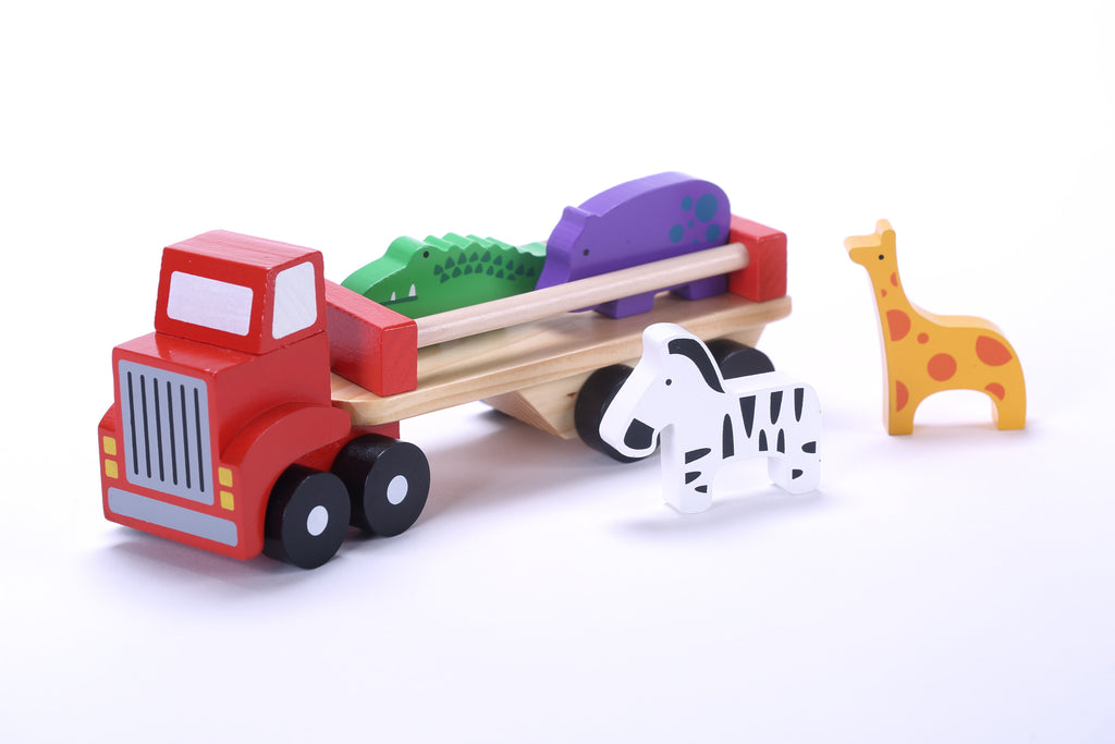 Wooden Toy Trucks For 3 Year Old : Classic wooden toy truck with animals detachable