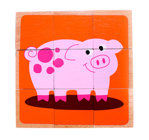 Wooden Farm Animal Cube Block Puzzle | 6 Barnyard Puzzles in One