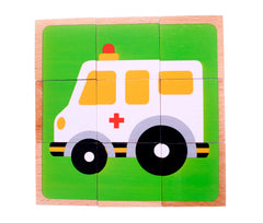 Vehicle Block Chunky Wooden Puzzle with Colorful Solid Wood Cube Pieces - Fire Truck, Bus & Cars - 6 Puzzles in 1