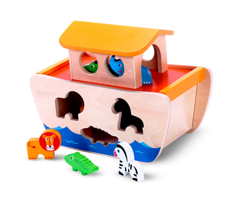 "Premium Wooden ""Noah's Ark"" Playset Toy Boat & Shape Sorter with Removable Top & Working Drawbridge and 7 Pairs of Little Animals"