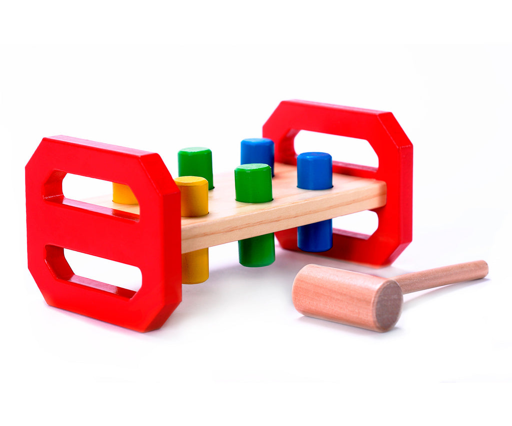 Childs Classic Wooden Pounding Bench Toy For Toddlers Pound Tap W Wood Hammer Colored Pegs