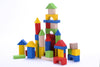Image of 50 Piece Classic Wooden Building Block Set - Hardwood Plain & Colored Small Wood Blocks