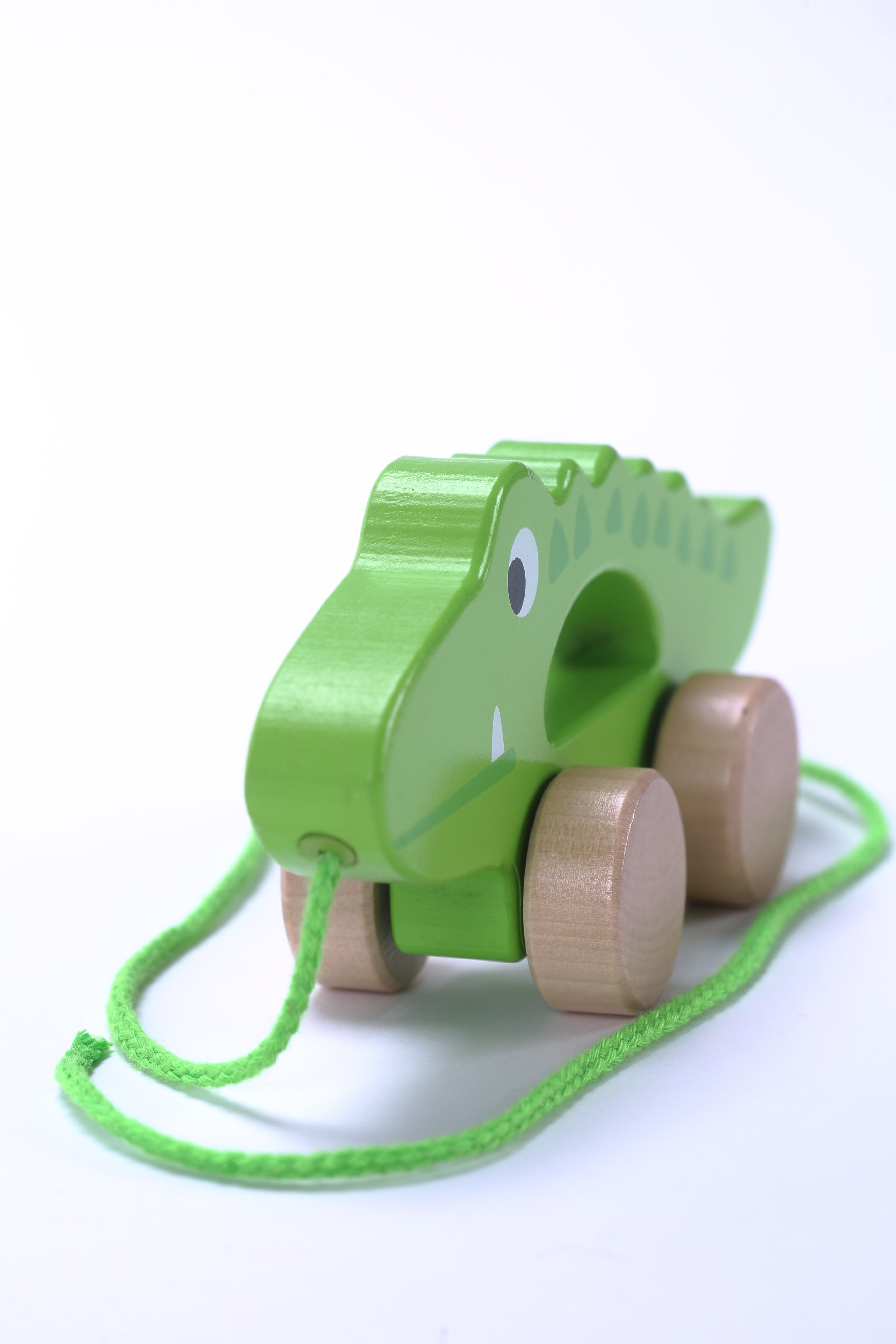 Adorable Crocodile Wooden Push & Pull Along Toy for Baby & Toddler - Rolls Easy with a Sturdy String
