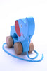 Image of Adorable Elephant Wooden Push & Pull Along Toy for Baby & Toddler - Rolls Easy with a Sturdy String