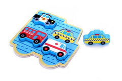 Small 4 Piece Vehicle & Travel Wooden Chunky Puzzle with