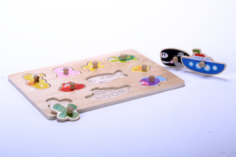 Classic Ocean Sea Animals Wooden Peg Puzzle w/ Colorful Wood Knob Pieces Fish, Whale, Turtle, Seahorse and Boat