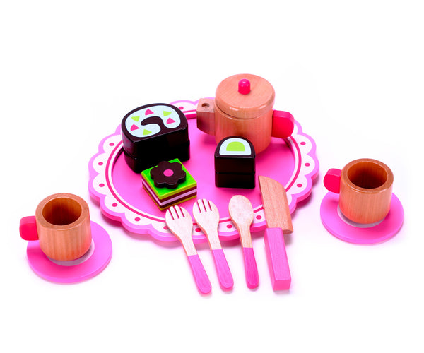 "Cute Afternoon Wooden Tea Party Set w/ Hardwood Pink Tea Kettle Pot Cups, Saucers & Dessert ""Food"""