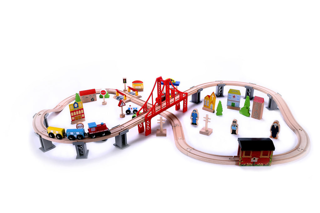 Perfect Classic Wooden 70 Piece Train Set Toys Gifts for Children ...