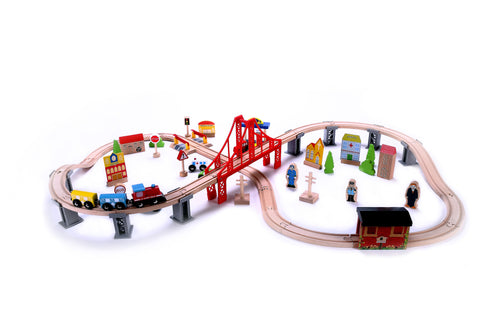 70 Piece Wooden Train Set - Classic Toy Train Tracks & Accessories, Magnetic Train Cars - Compatible w/ Thomas Tank Engine, Melissa & Doug, Brio, Chugginton Train Sets