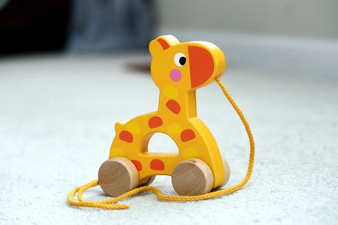 Adorable Giraffe Wooden Pull Along Toy for Baby & Toddler - Rolls Easy with a Sturdy String