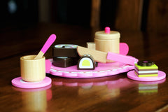 Cute Afternoon Wooden Tea Party Set w/ Hardwood Pink Tea Kettle Pot Cups, Saucers & Dessert