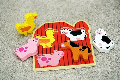 "Small 4 Piece Barnyard Farm Animals Wooden Chunky Puzzle with ""Easy-Hold"" Colorful Solid Wood Pieces"
