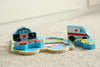 "Image of Small 4 Piece Vehicle & Travel Wooden Chunky Puzzle with ""Easy-Hold"" Colorful Solid Wood Pieces w/ Fire Truck, Police Car"