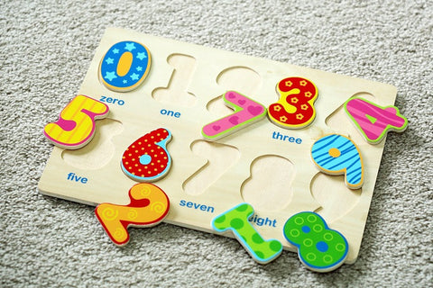 Classic Numbers Wooden Puzzle, Preschool Age w/ Colorful Wood Pieces & Shape Cut-Outs in Board