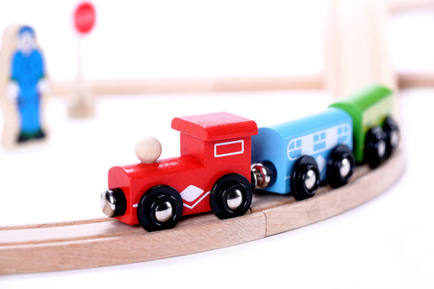 Wooden Toy Train Set - 30 pc - Premium Wood Train Tracks, Magnetic Train Cars for Toddlers & Older