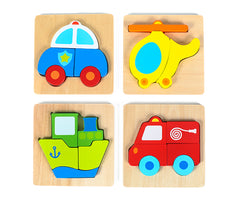 "Vehicle Mini Chunky Wooden Puzzle Bundle Pack (Set of 4) w/ ""Easy-Hold"" Colorful Solid Wood Pieces. Fire Truck, Police Car, Boat & Helicopter Included"