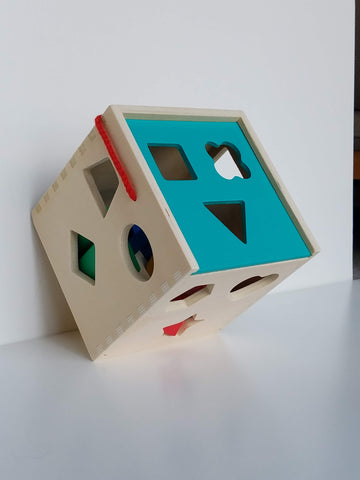 Classic Wooden Shape Sorter Cube Toy w/ Hinged Lid | 10 Color Solid Wood Geometric Shape Pieces