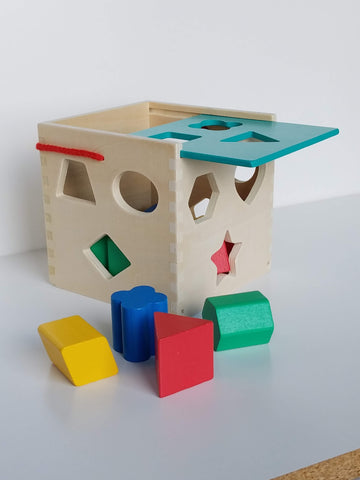Classic Wooden Shape Sorter Cube Toy w/ Sliding Lid | 10 Color Solid Wood Geometric Shape Pieces