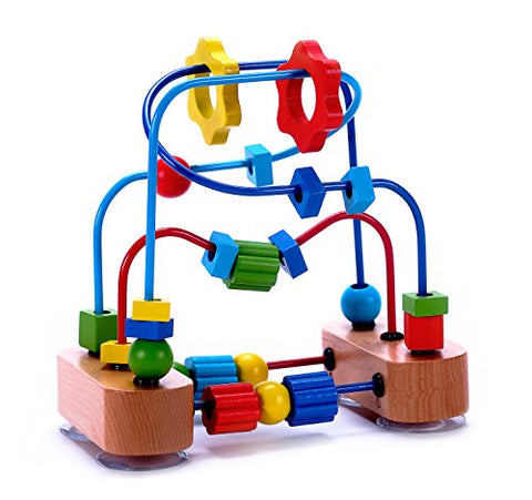 Classic Bead Maze Cube Toy for Babies, Toddlers - Wooden Roller Coaster Beads On Sturdy Wire Frames