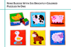 Image of Wooden Farm Animal Cube Block Puzzle | 6 Barnyard Puzzles in One