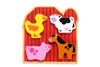 "Image of Small 4 Piece Barnyard Farm Animals Wooden Chunky Puzzle with ""Easy-Hold"" Colorful Solid Wood Pieces"