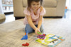 "Image of Cute Dinosaur Chunky Wooden Puzzle w/ ""Easy-Hold"" Colorful Solid Wood Pieces. Simple Educational & Sensory Learning"