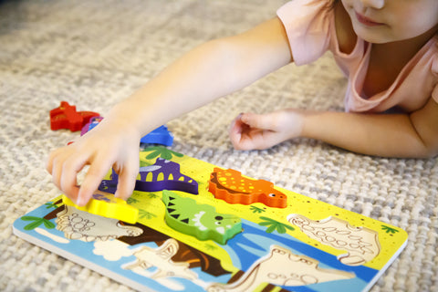 "Cute Dinosaur Chunky Wooden Puzzle w/ ""Easy-Hold"" Colorful Solid Wood Pieces. Simple Educational & Sensory Learning"